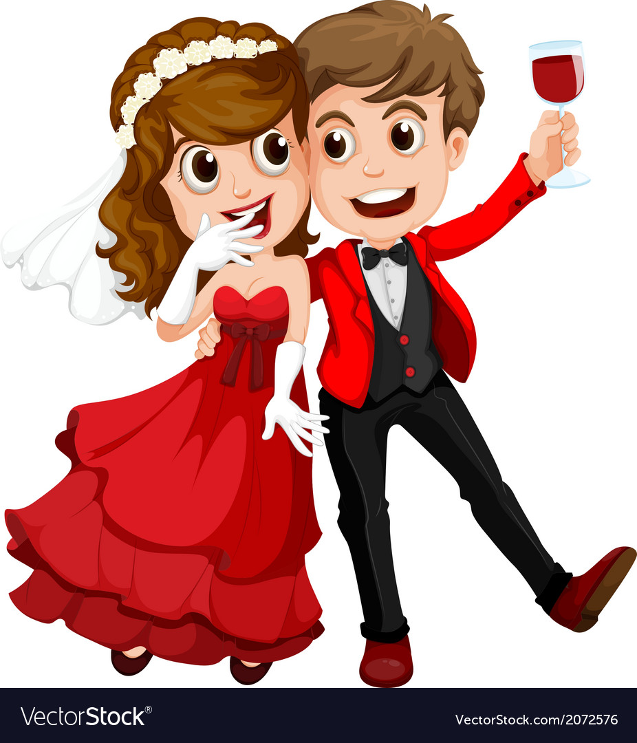 a-couple-who-just-got-married-vector-207