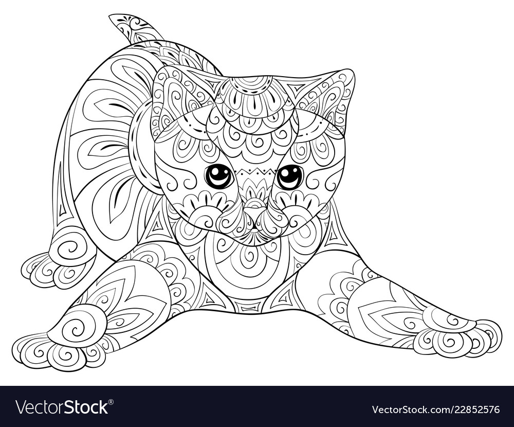 Adult coloring bookpage a cute cat image for