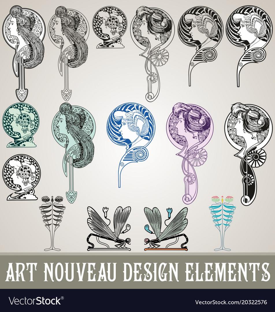 art nouveau design elements royalty free vector image