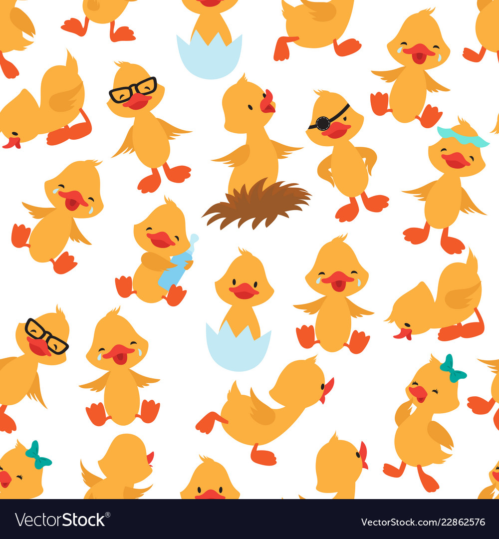 Baby duck seamless pattern cute ducklings kids