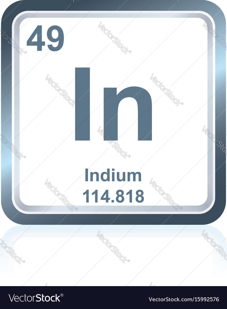 Chemical Element Indium From The Periodic Table Vector Image