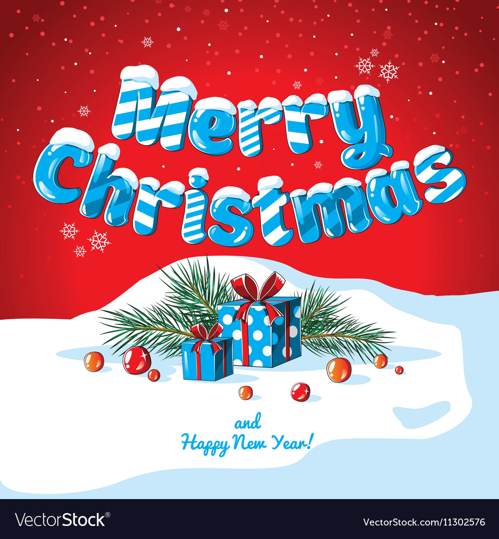 Christmas Card Poster Banner With Ice Letters Fir Vector Image