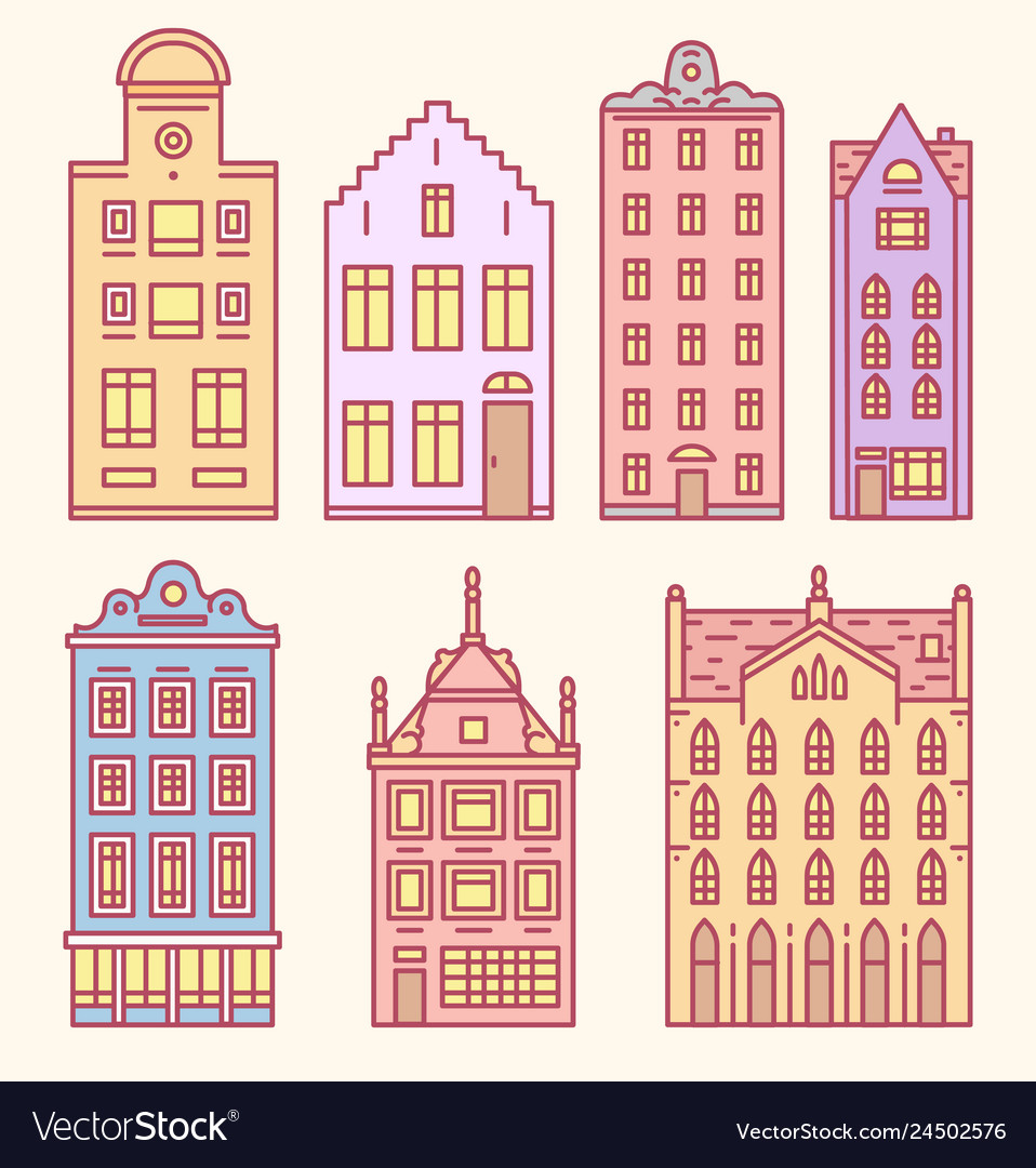 Europe house or apartments set of doodle sketch