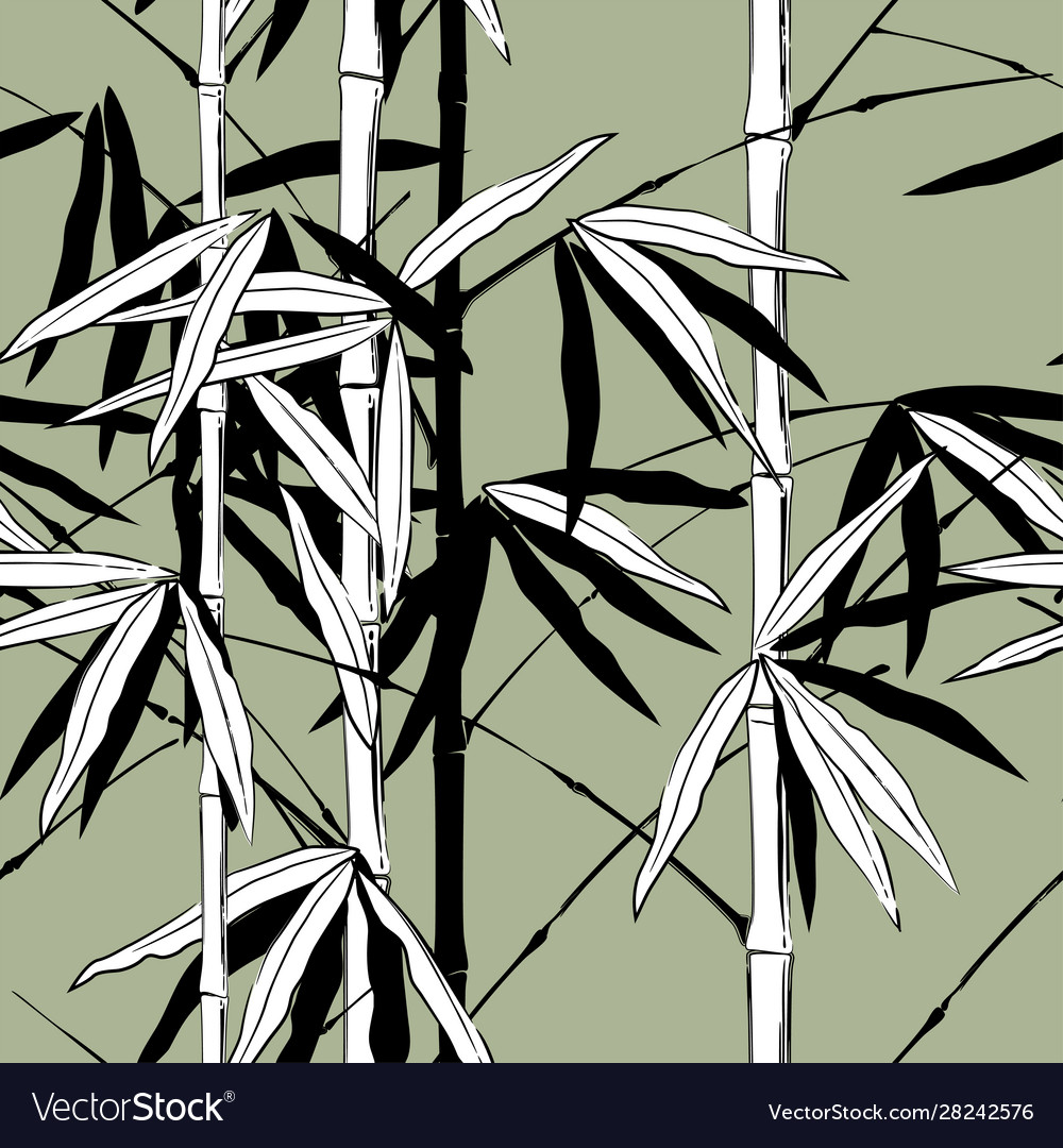 Seamless pattern background with hand drawn bamboo