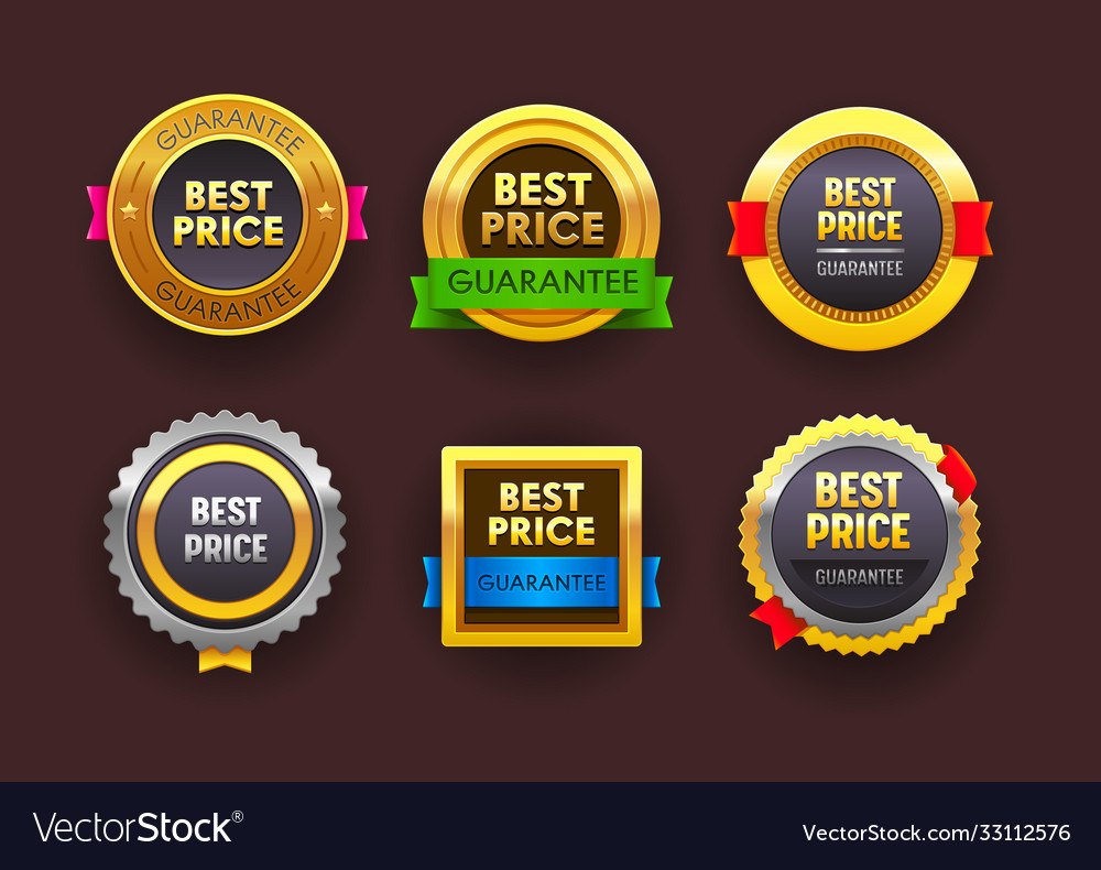 Set best price guarantee icons isolated round