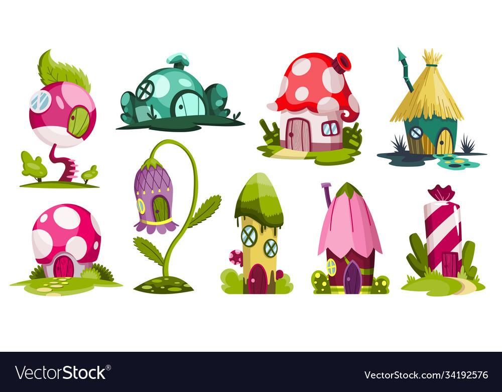 Set fairytale houses collection cartoon