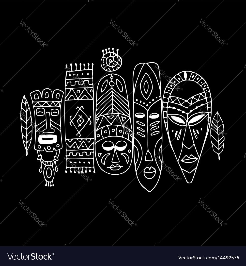 Tribal mask ethnic set sketch for your design