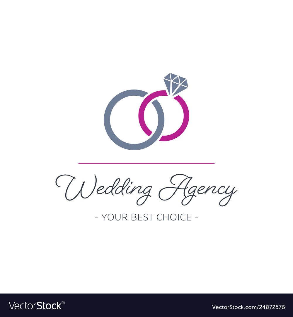 Wedding agency logo design with rings