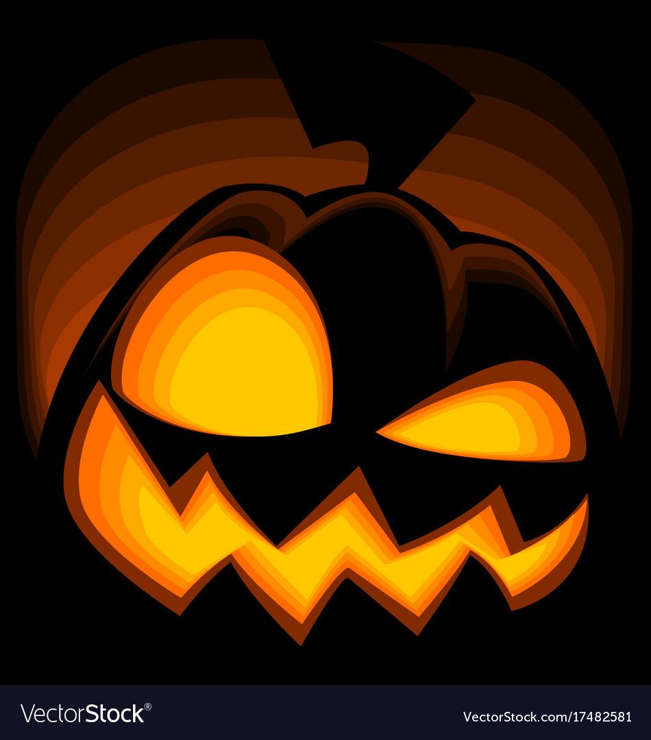 Cartoon crazy halloween pumpkin silhouette drawing vector image
