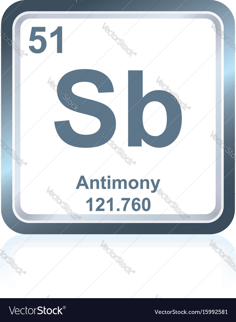 Chemical Element Antimony From The Periodic Table Vector Image