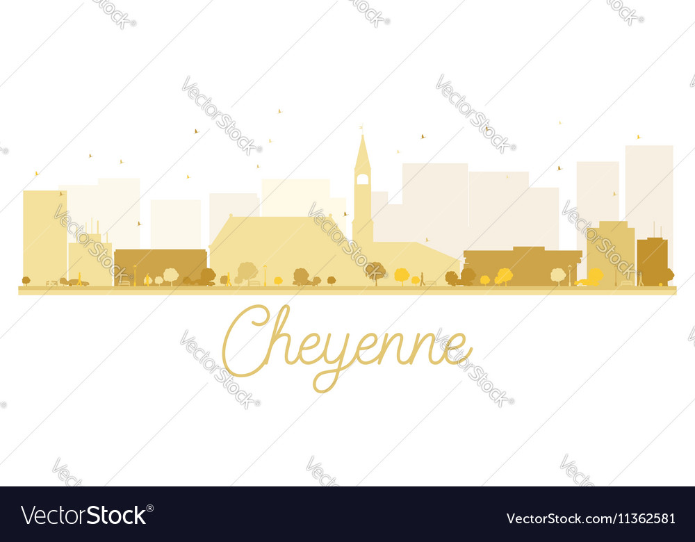 Cheyenne City skyline golden silhouette