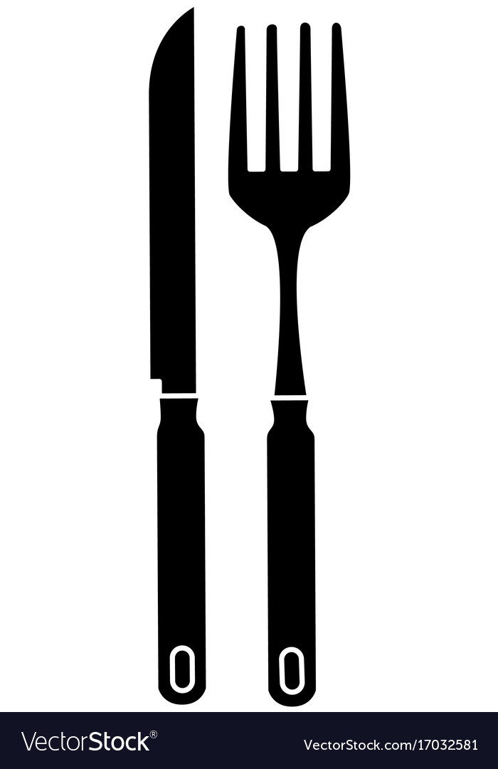 Fork and knife cutlery isolated icon