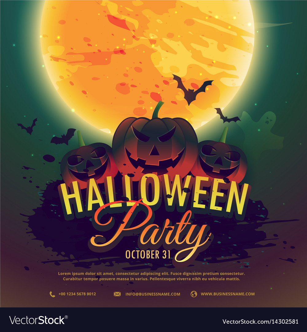 Halloween Party Invitation Background Vector Image