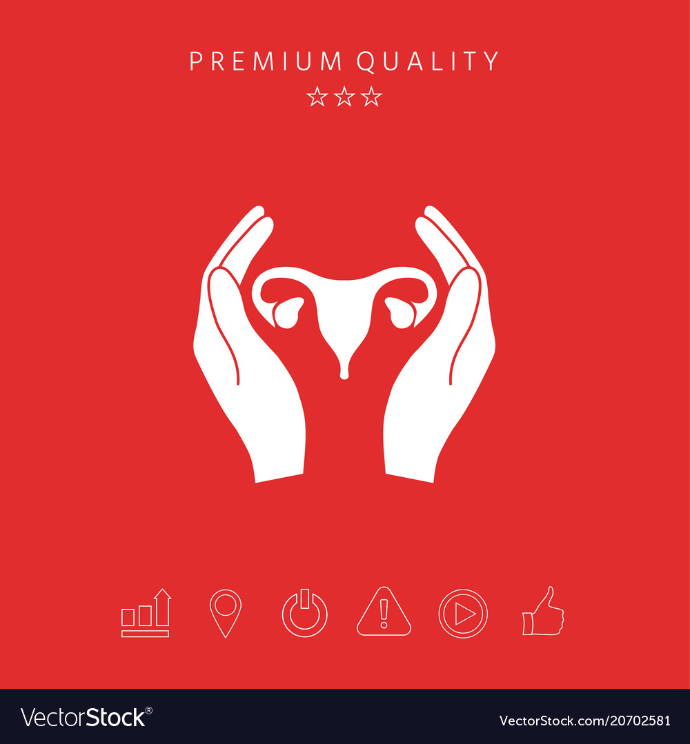 Hands Holding Female Uterus Protection Icon Vector Image