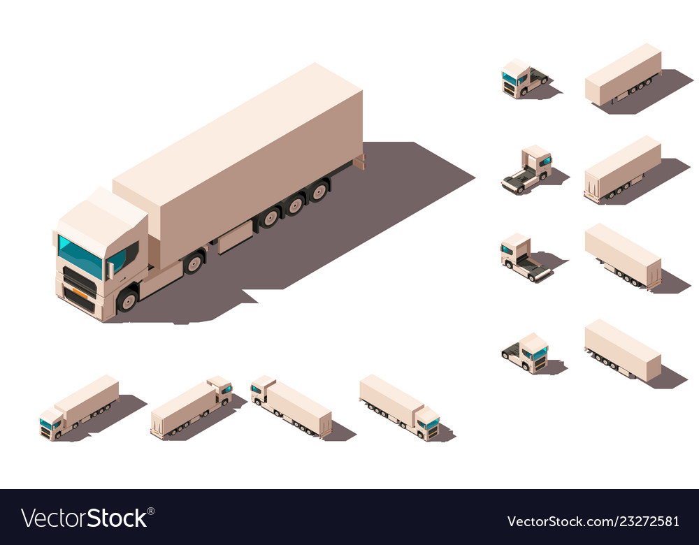 Isometric 3d set big truck with box for delivery