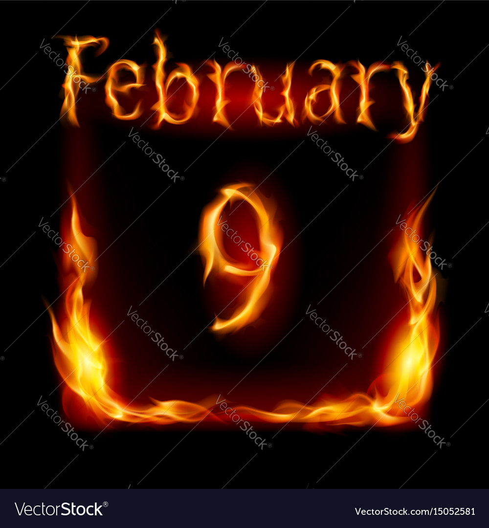 Ninth february in calendar of fire icon on black