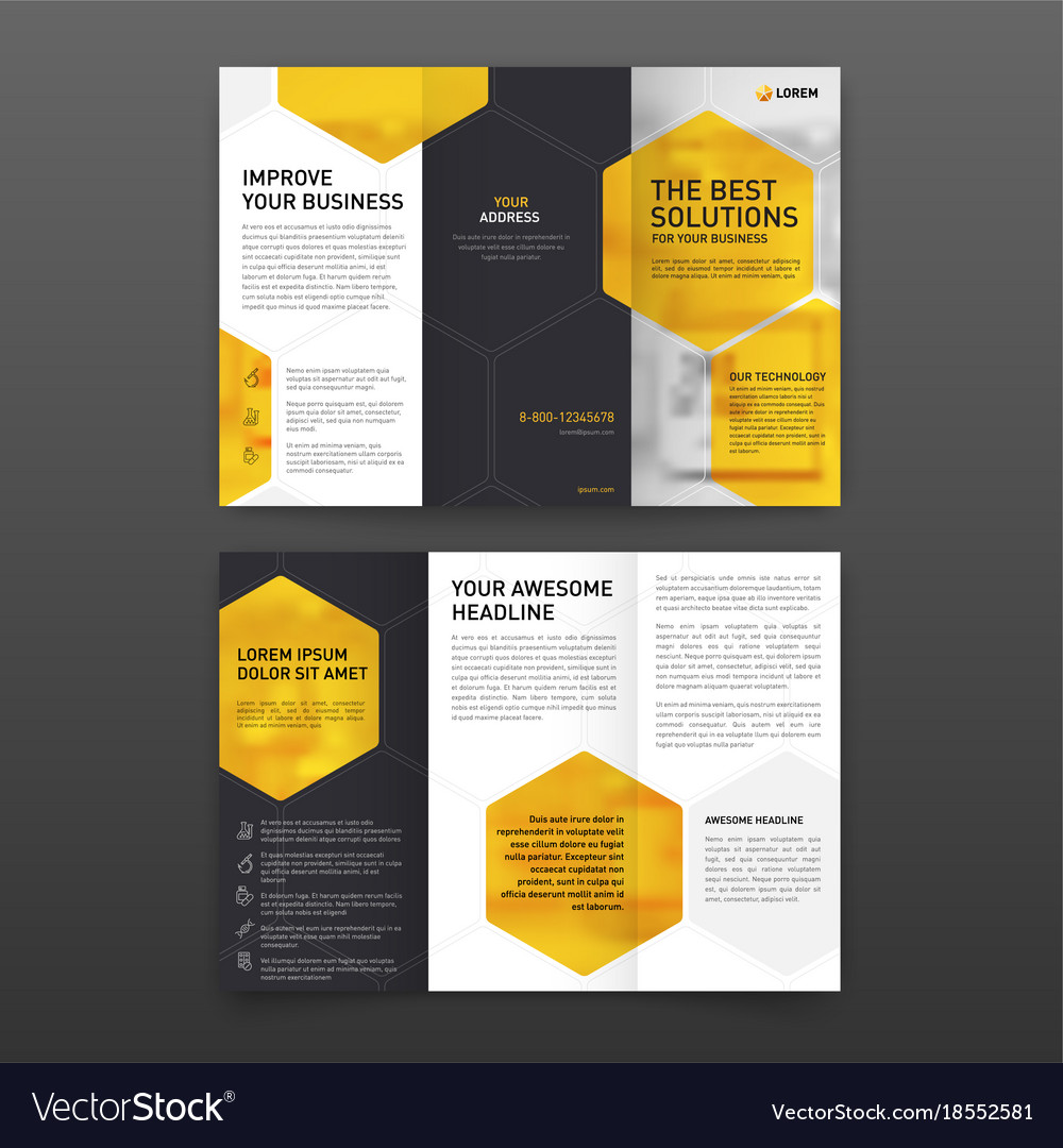 pharmaceutical brochure tri fold template vector image