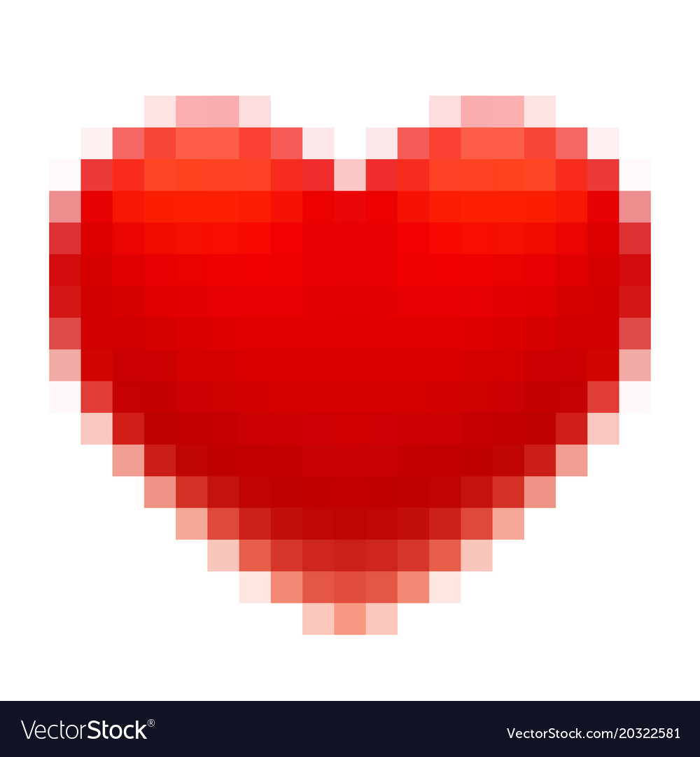 Pixel art red heart isolated on white background