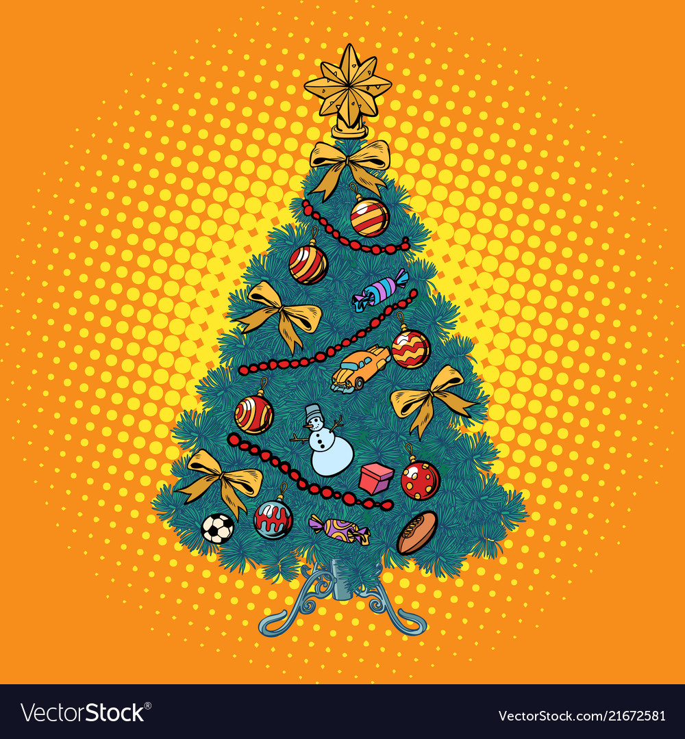 Pop art christmas tree with decorations