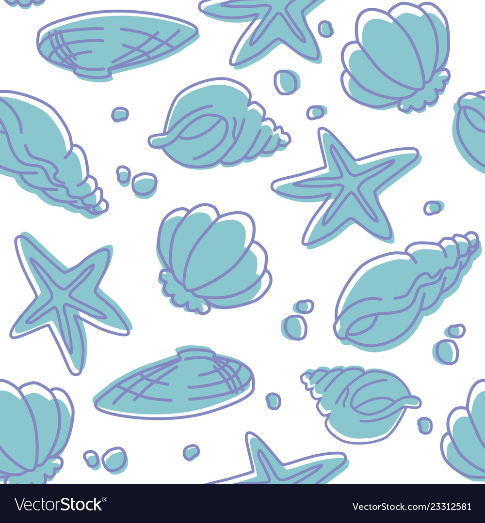 Seamless pattern of seashells and starfishes