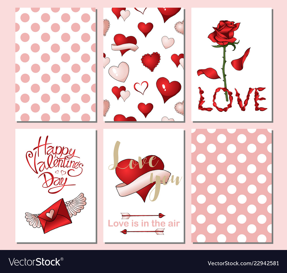 Set of 6 cards or templates for valentines day