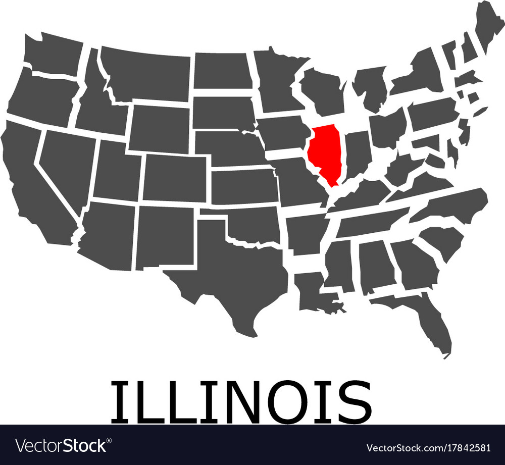 State of illinois on map of usa on illlinos map, lllinois map, i'll road map,