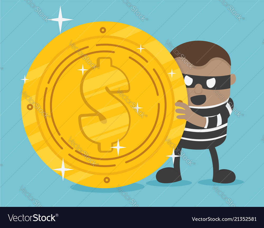 Stock thief bad thief wear black suit and mask