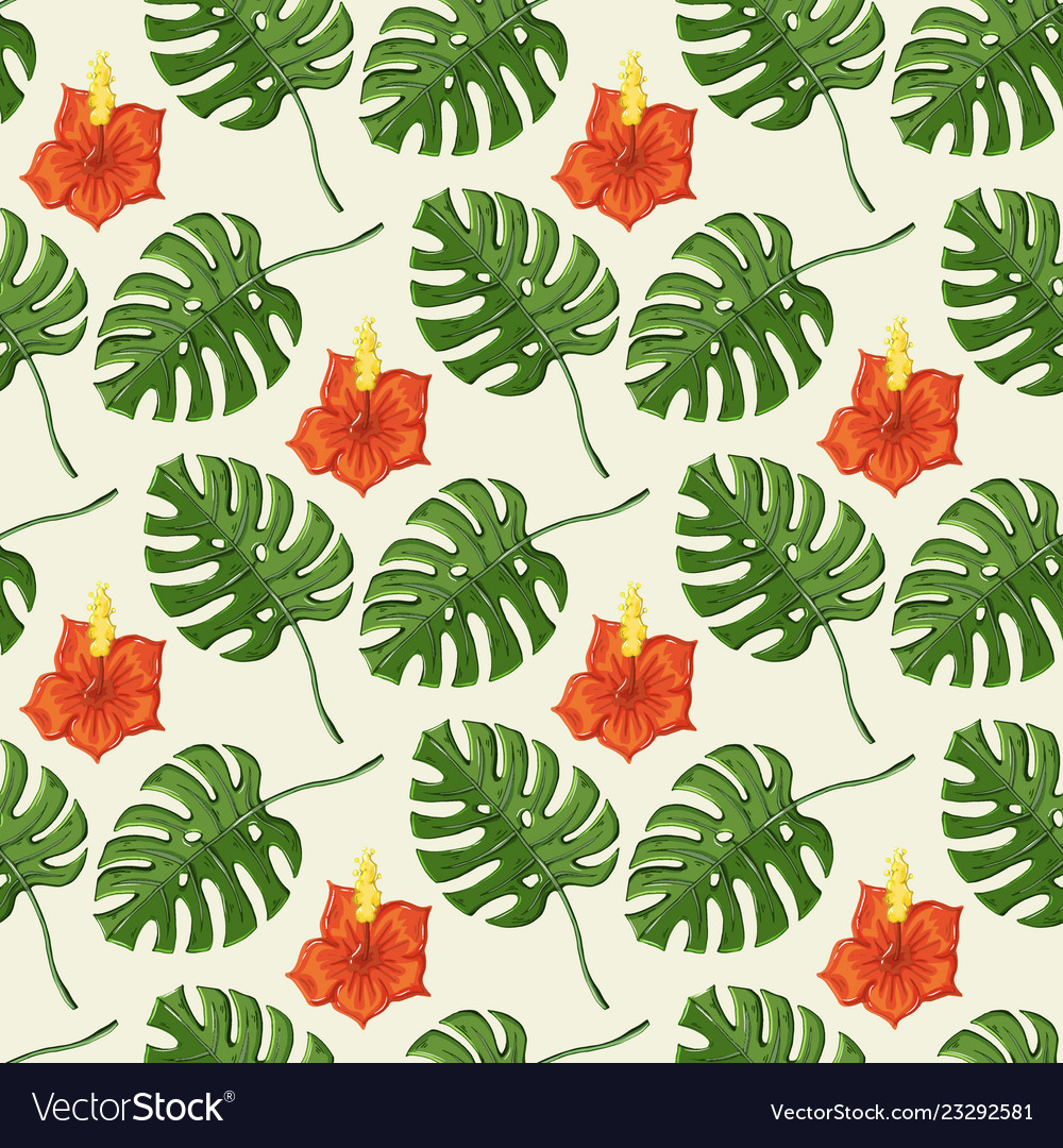 Tropical pattern with monstera leaves and gibiscus