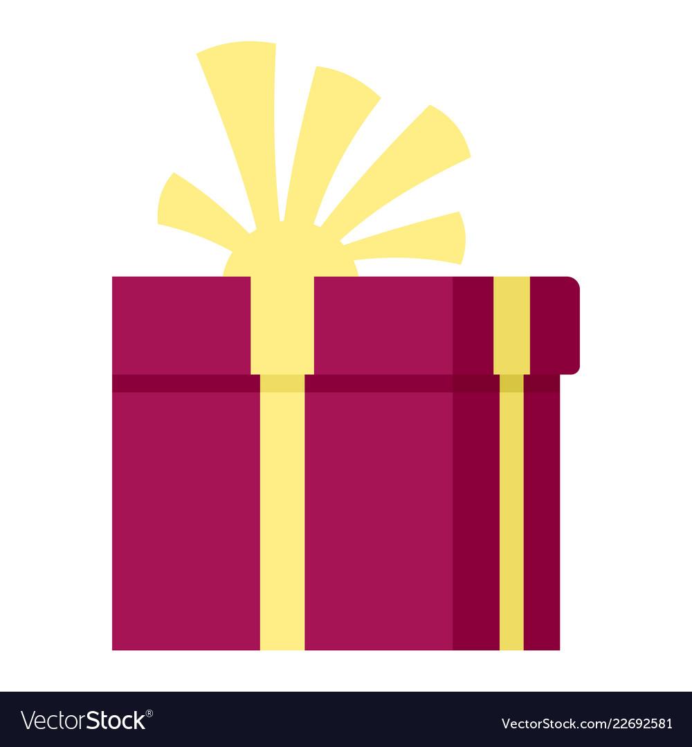 Valentine gift box icon flat style