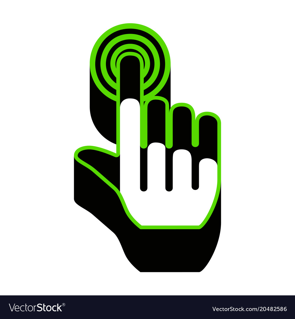 Hand Click On Button Green 3d Icon With Royalty Free Vector