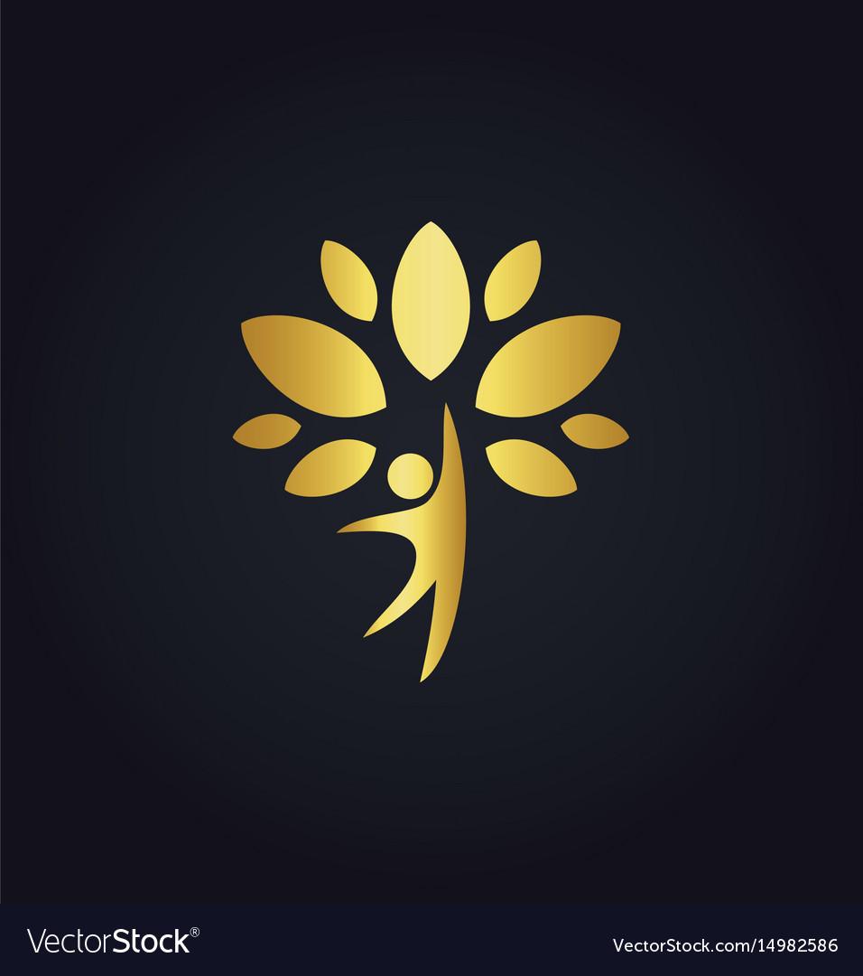 Happy man tree organic gold logo