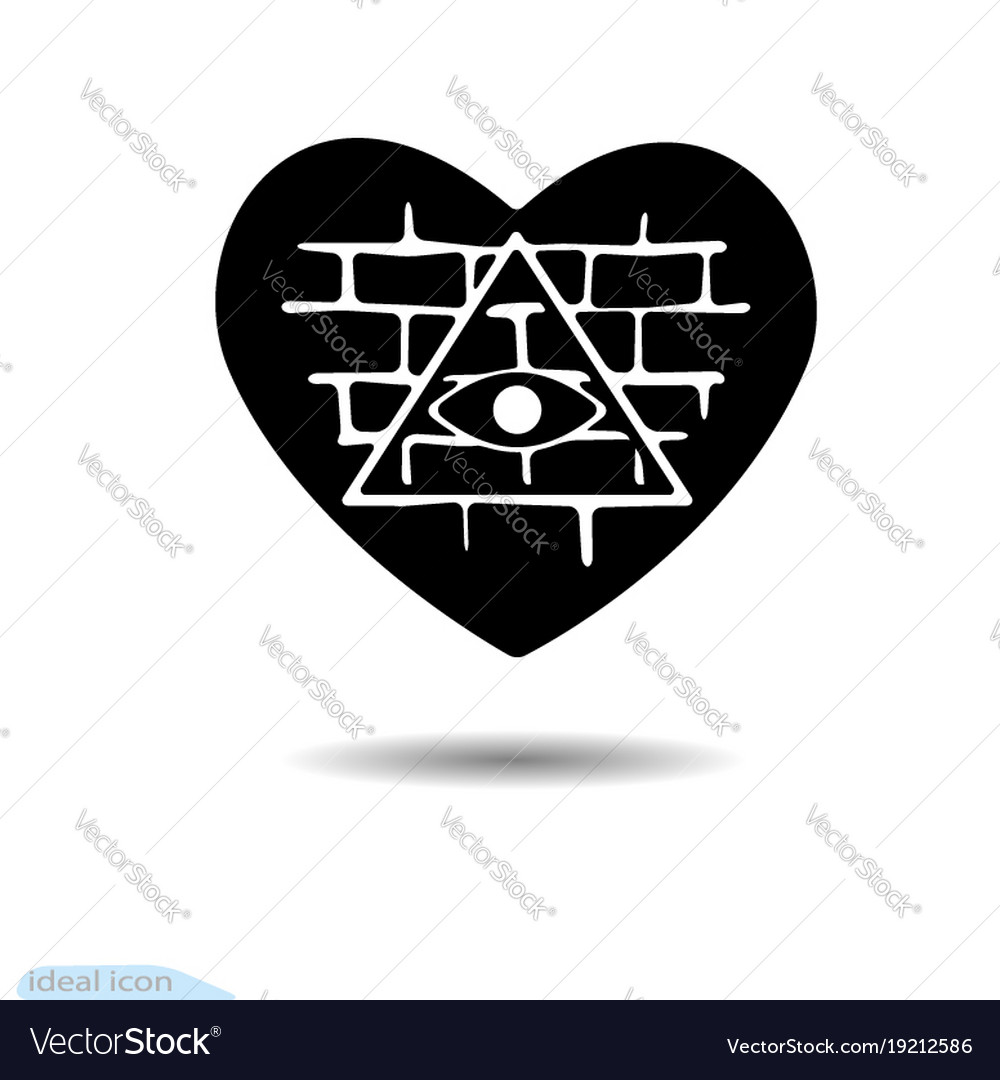 Heart Icon All Seeing Eye A Symbol Of Love Vector Image