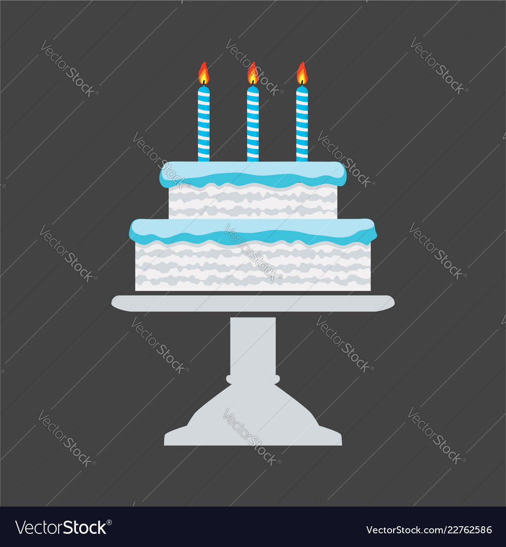 Icon blue birthday cake on a stand