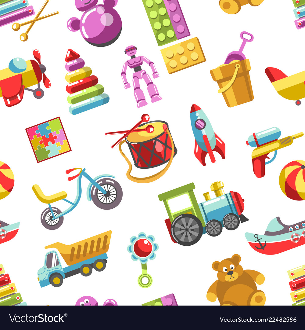 Kid toys icons seamless pattern children