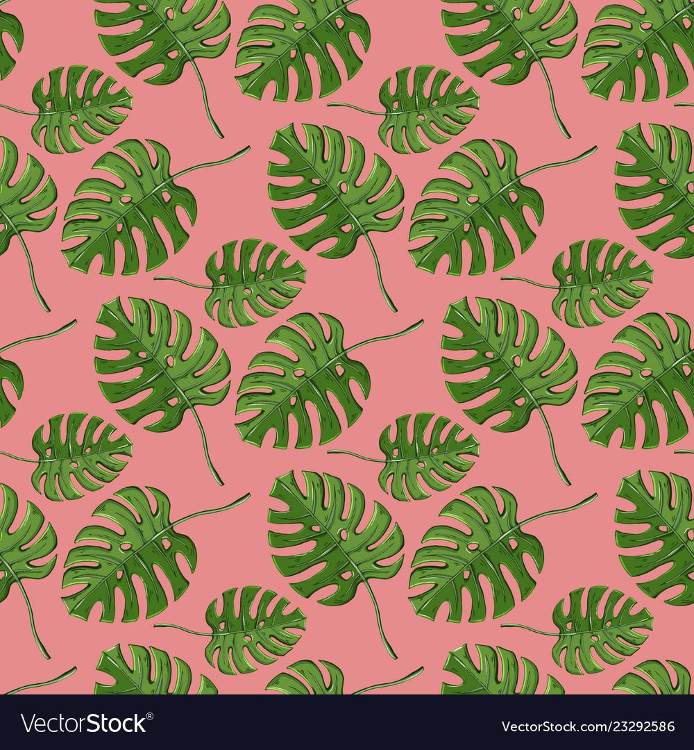 Monstera plant seamless pattern on a pink