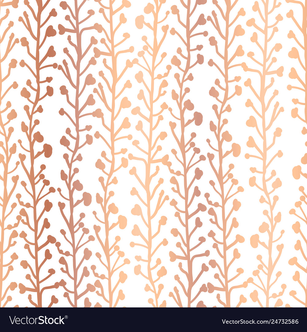 Rose gold foil nature background seamless