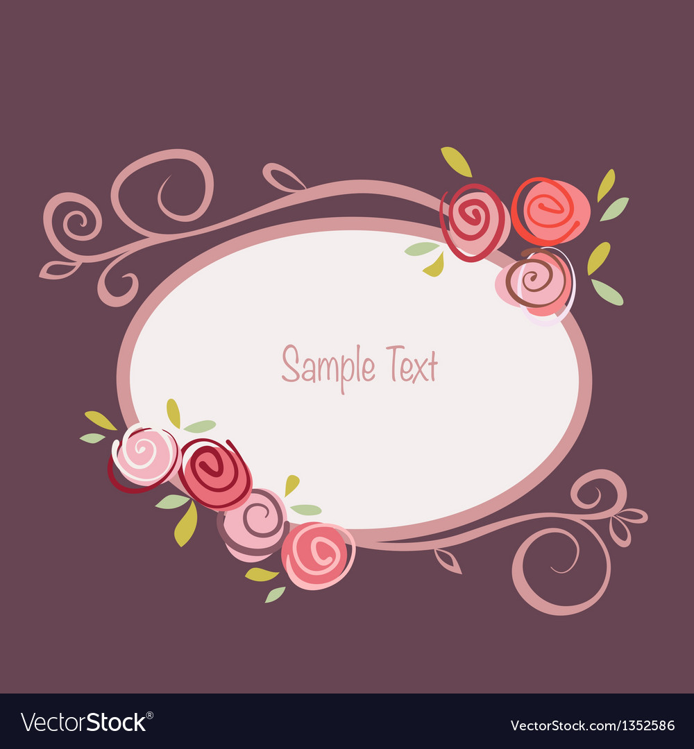 Rose round frame vector image