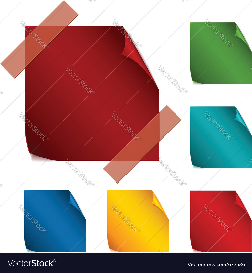 Set of blank paper stickers with rounded corners