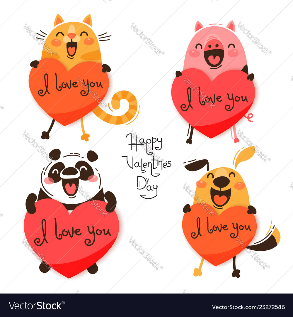 Set of cute animals with valentines funny cat