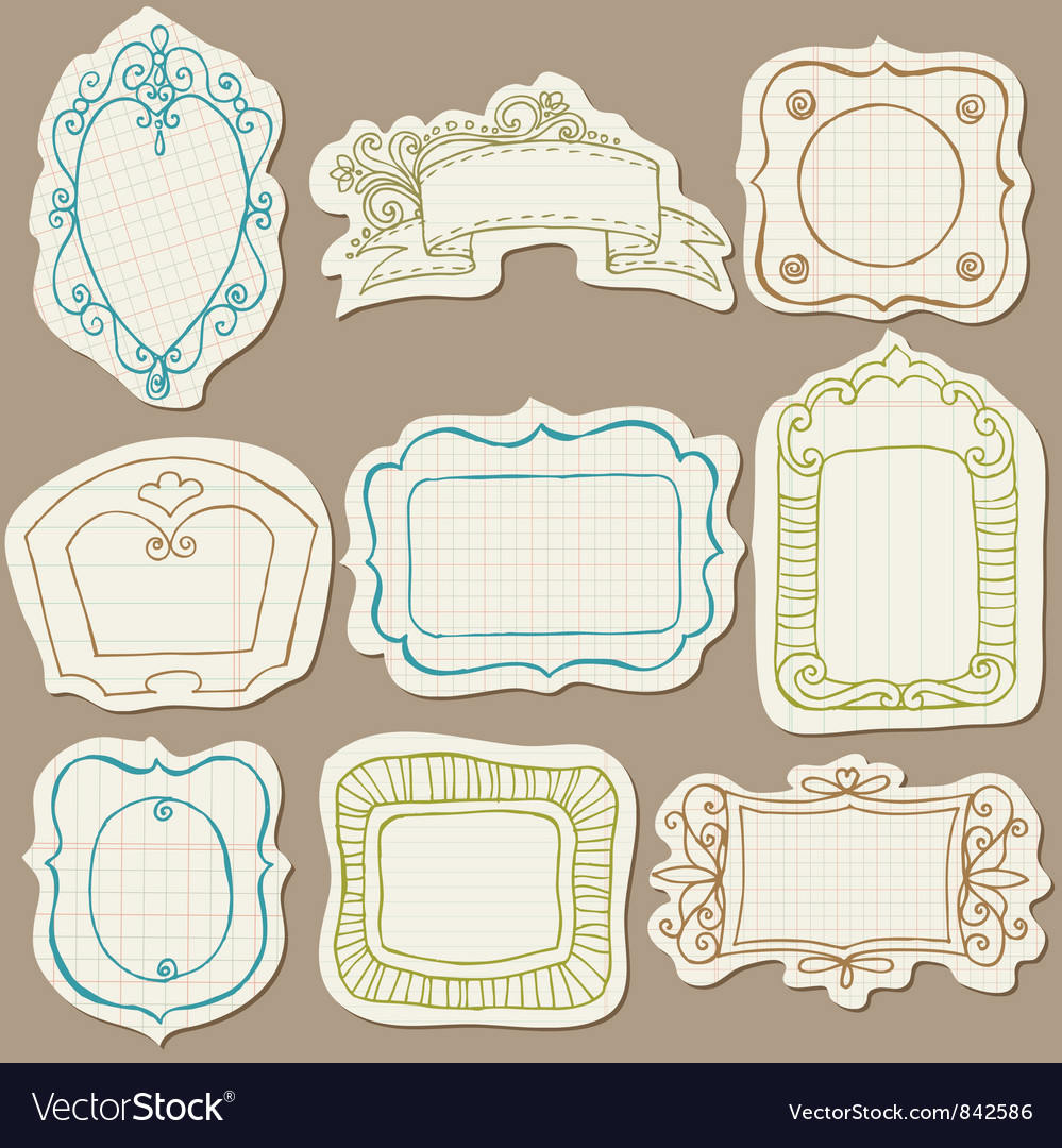 Set of Doodle Frames on torn paper vector image
