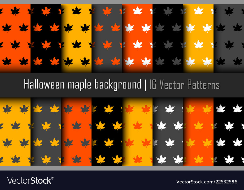 Set of patterns halloween maple