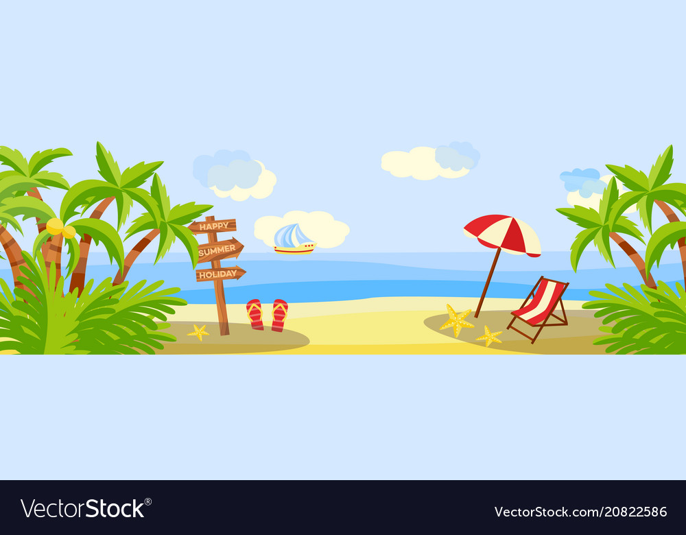 Summer beach vacation horizontal banner with