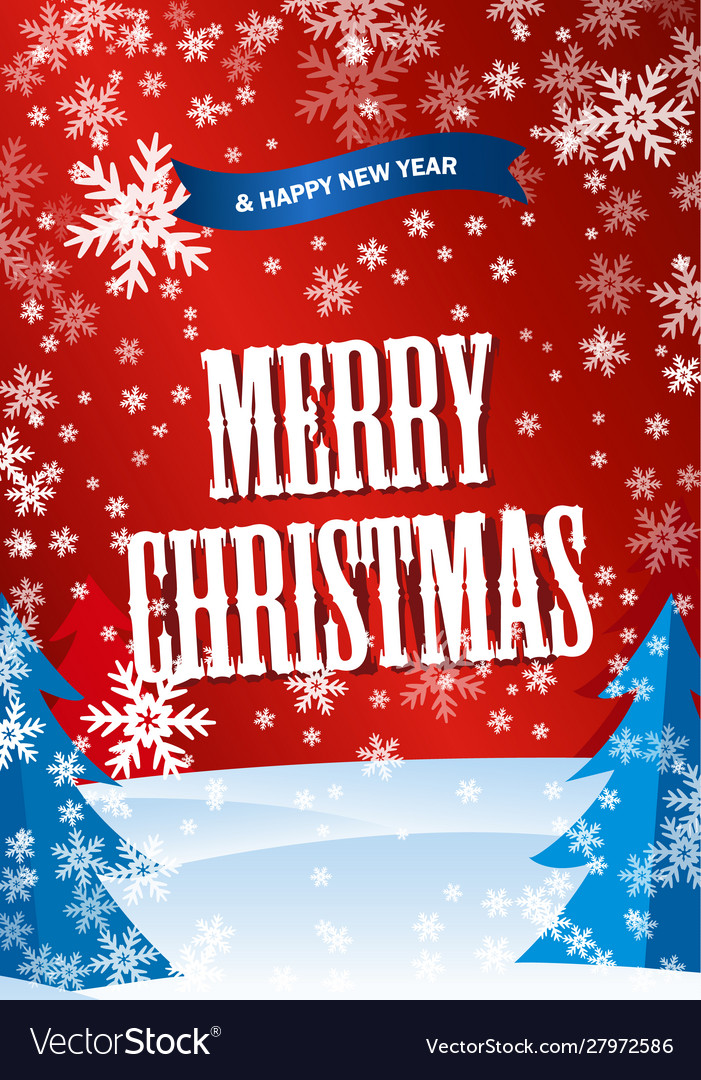 Vertical red poster merry cristmastext happy new