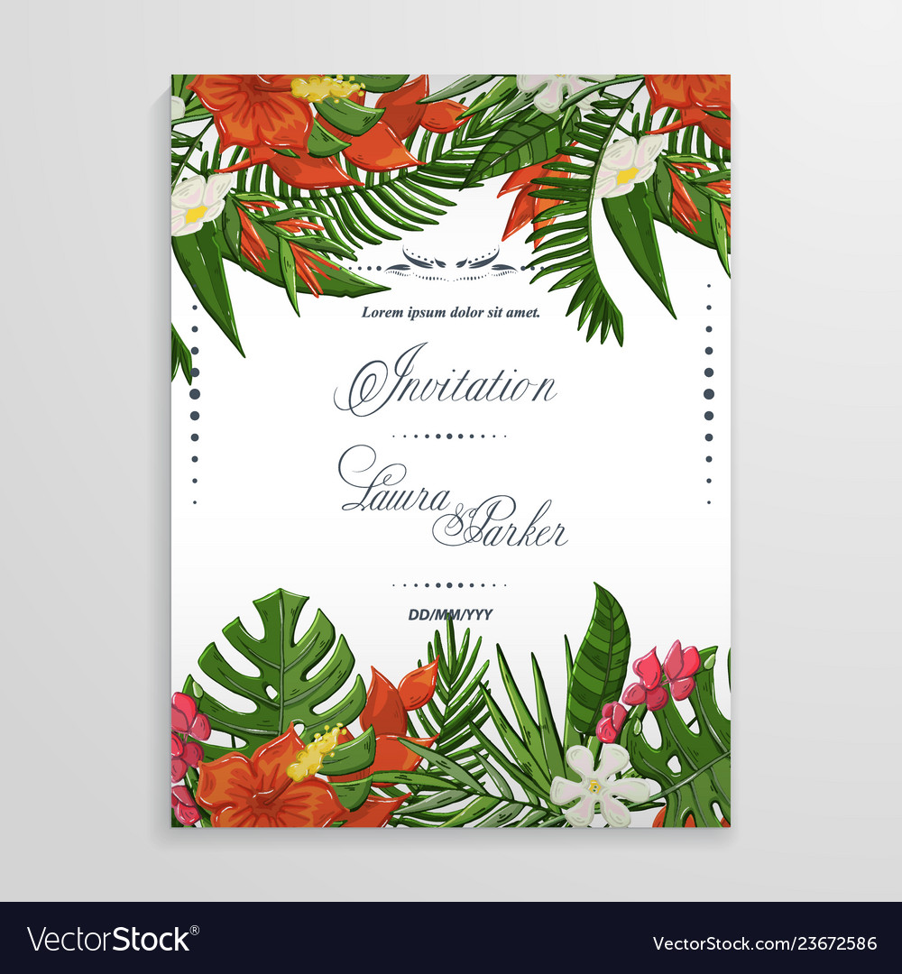 Wedding invitation with tropical flowers and