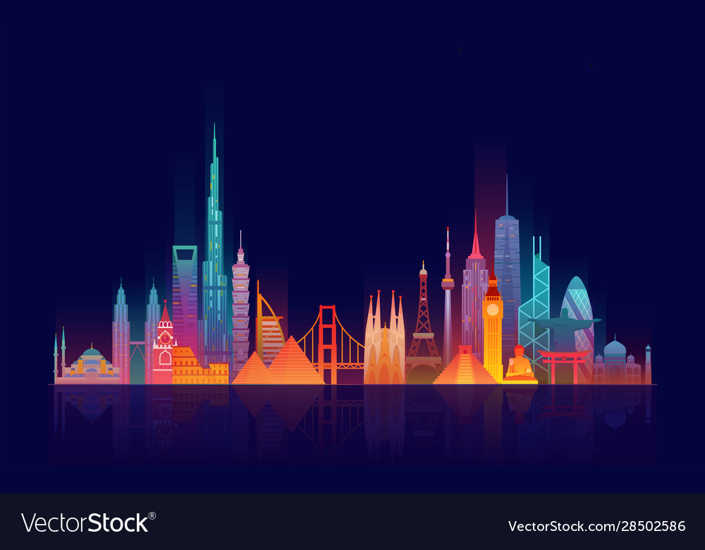 World skyline travel and tourism background