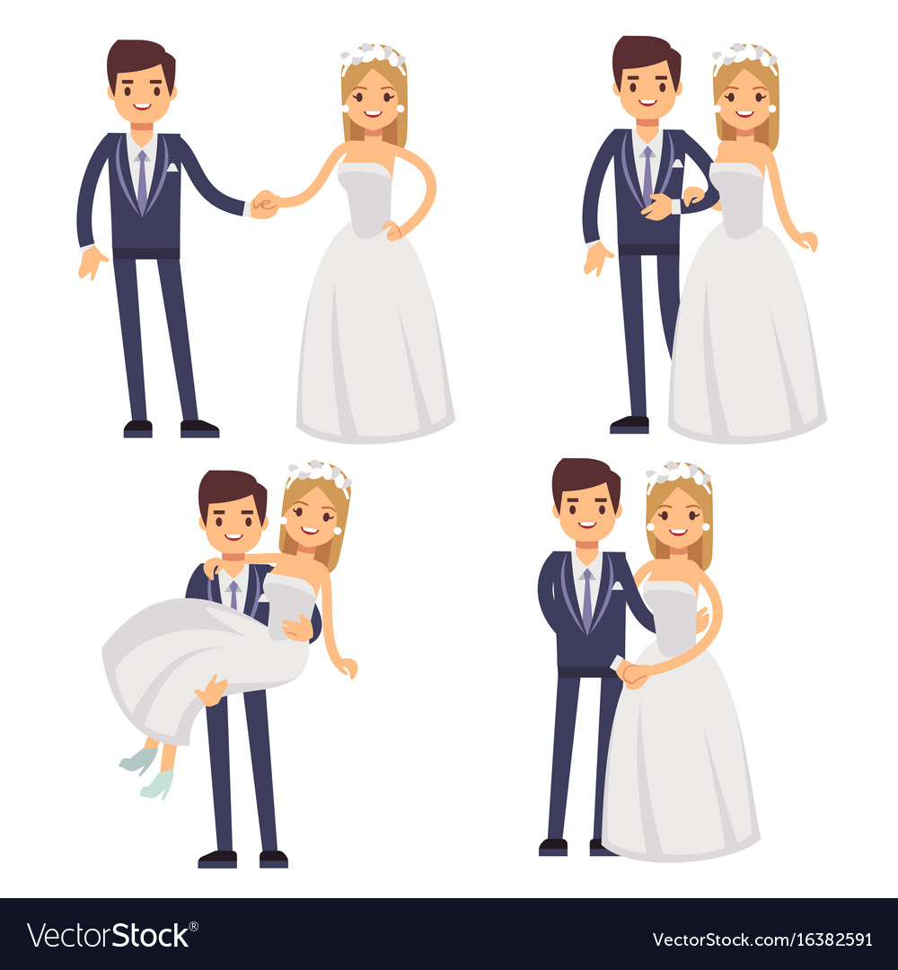 Cartoon wedding couple just married
