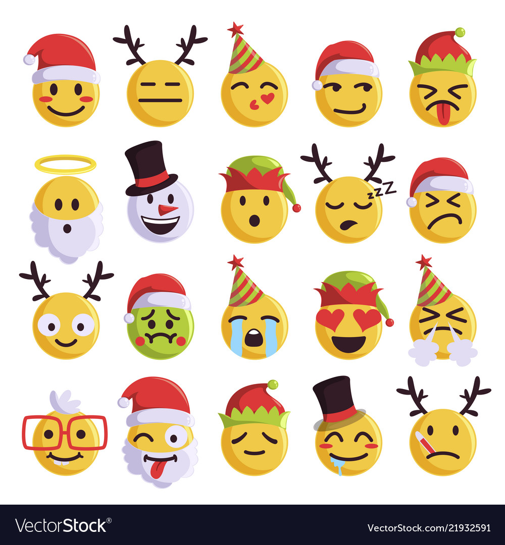 Christmas Emoji.Christmas Emoji Funny And Cute Holiday Set