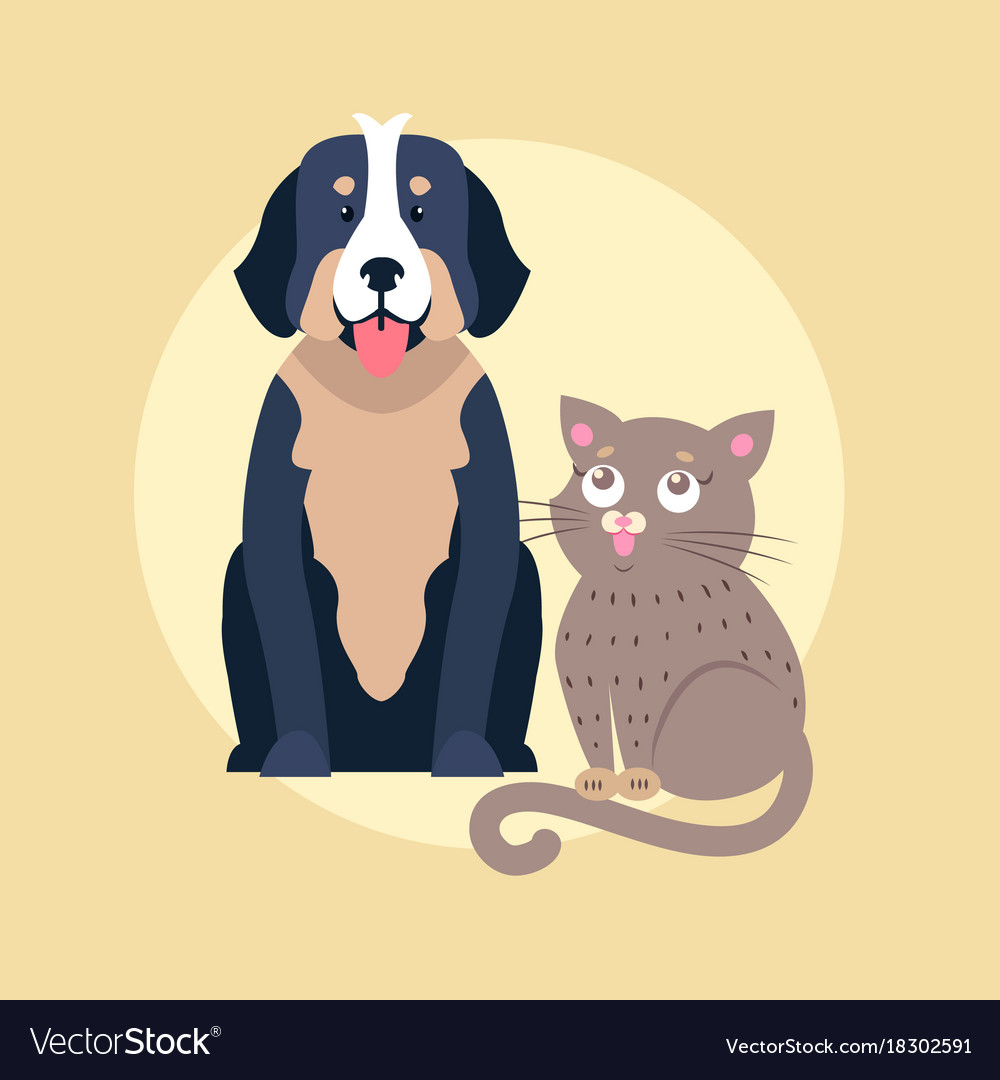 Cute dog and cat cartoon flat icon
