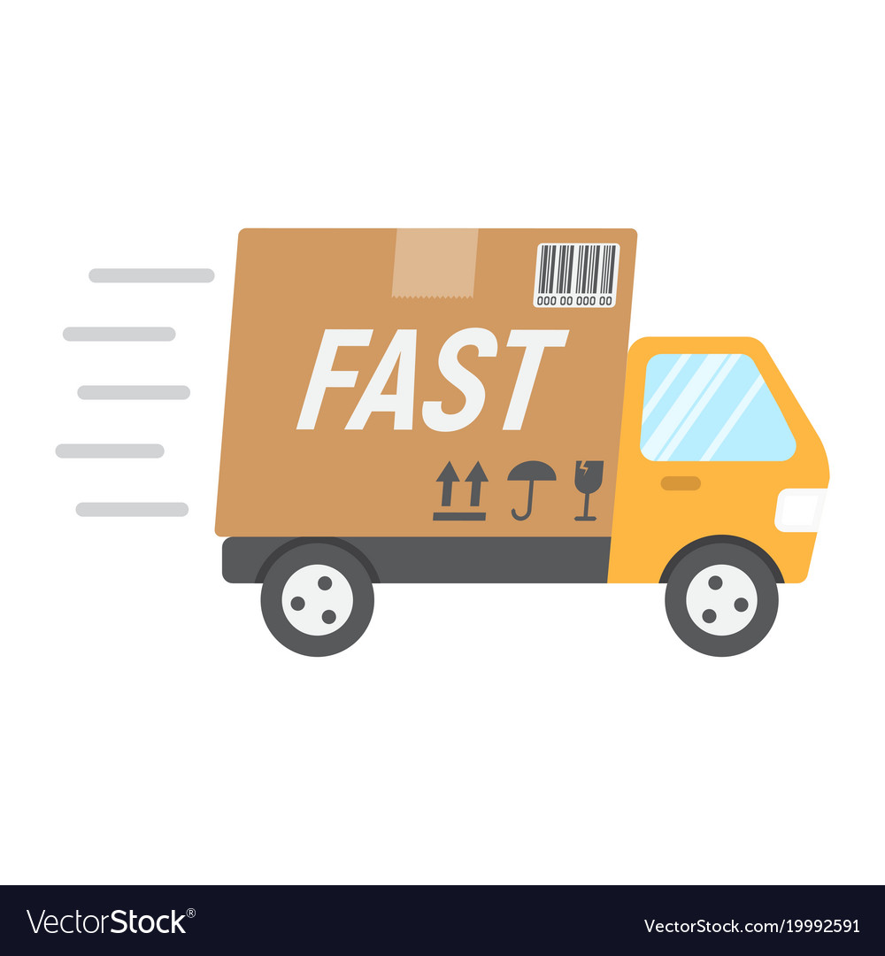 Shipping Delivery: Fast Shipping Flat Icon Delivery Truck Royalty Free Vector
