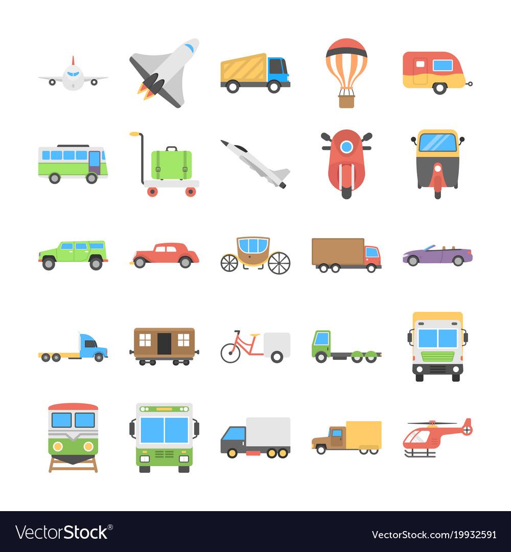 Flat icons set of transport